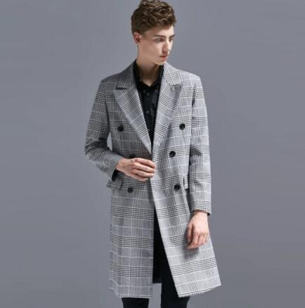 1055b7abfe5 S 6XL 2018 New Men Clothing Fashion Long Design Plaid Trench Coat Autumn  Casual Plus Size Double Breasted Overcoat Outerwear UK 2019 From Jilihua