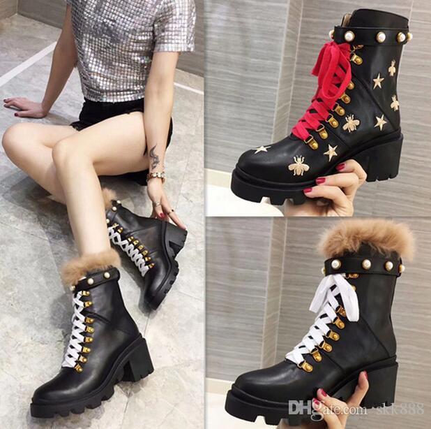 Mode aus echtem Leder Frau Martin Pelz Stiefel Ankle Boots 2 Arten Futter Perle Honigbiene fünfzackigen Stern schmücken klobige Ferse Schuhe