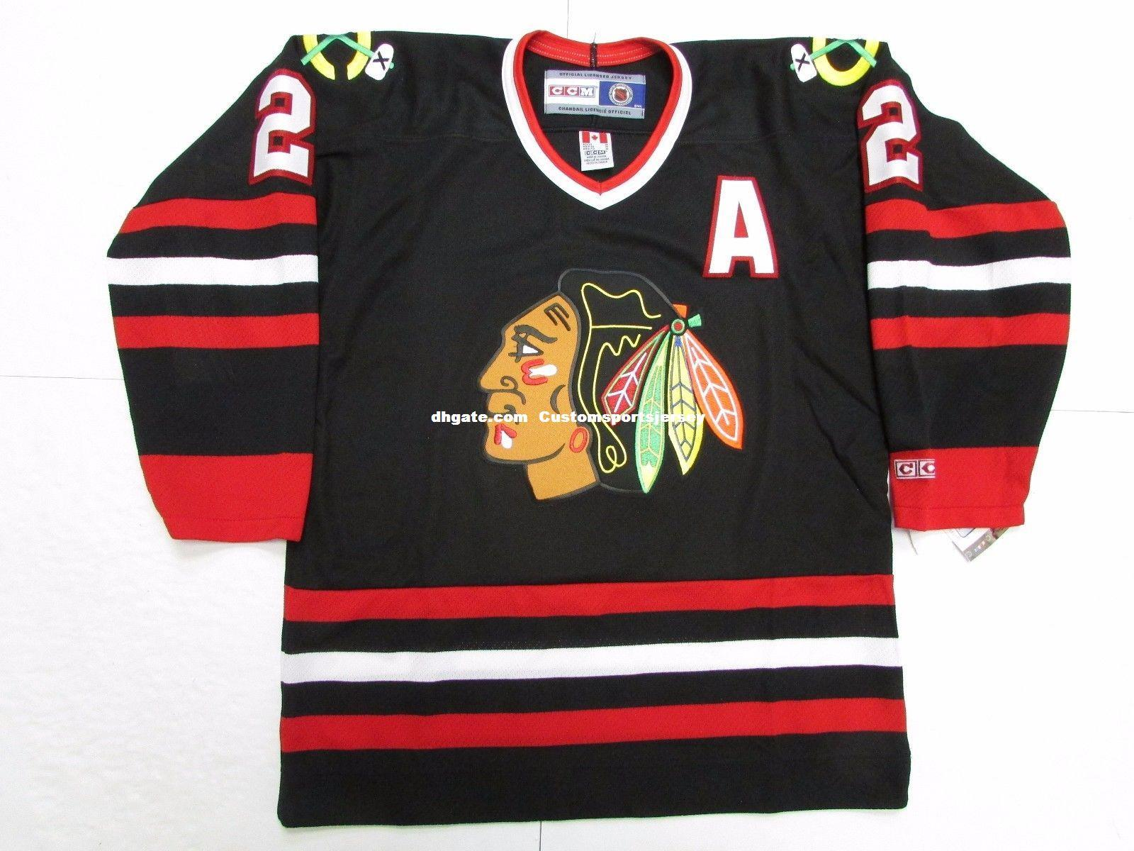 Cheap Custom DUNCAN KEITH CHICAGO BLACKHAWKS VINTAGE CCM BLACK ... 2010577cf