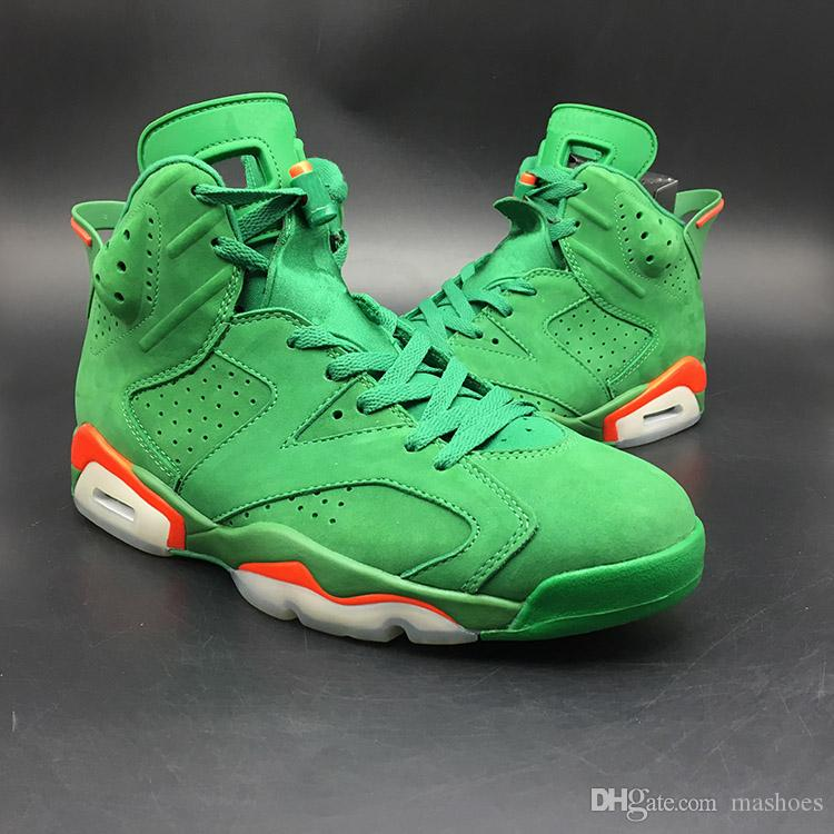 sports shoes 081d1 65440 Free shipping High Quality 6 Gatorade designe rmens shoes Men 6s Gatorade  Green Suede Casual New With Shoes Box