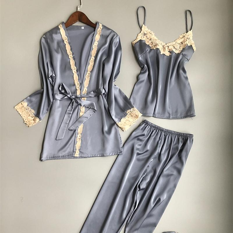 84b2cc3f6e 2019 Sleepwear 2018 Women Nightwear Faux Silk Satin Nightgowns V Neck  Dressing Gown Long Sleeve Print Pajama Robe Pants Sets From Bevarly