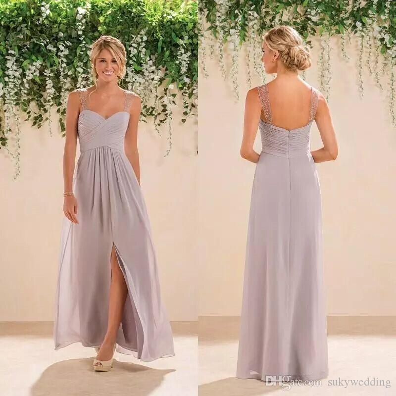 Jasmine Bridesmaid Dresses Light Purple Sweetheart Pleats Chiffon Long Maid of Honor Gowns Beaded Straps Split Wedding Party Dresses