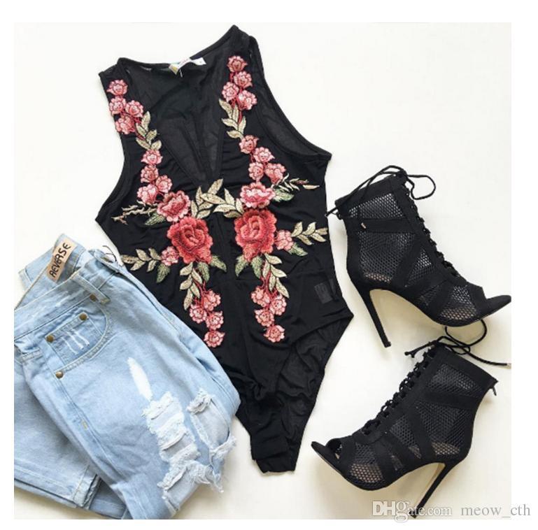 2018 новый тяжелый вышивка сексуальный комбинезон перспектива роза пион вышивка брюки талии стрейч брюки летние женщины новая мода