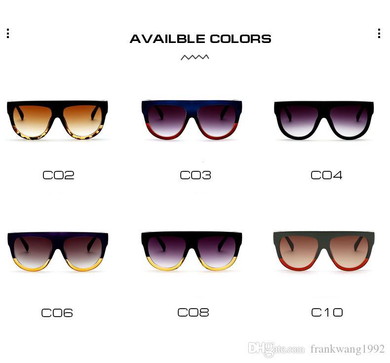 Nuova vendita calda Occhiali da sole Donna Flat Top Oversize Shield Forma Occhiali Brand Design Vintage Occhiali da sole UV400 Rivetto femminile Tonalità K0100