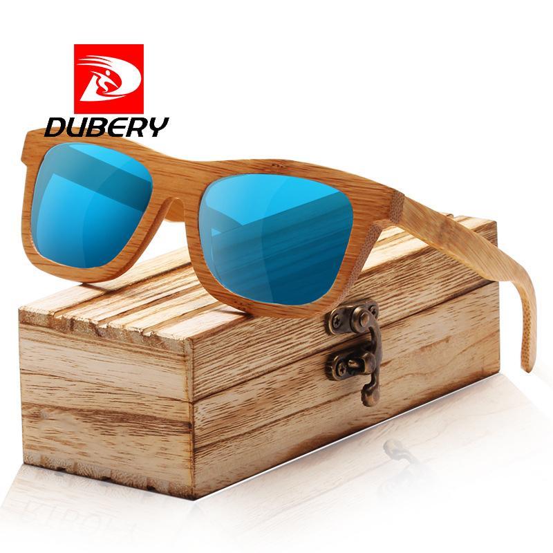 Brands Glasses Eyewear Oculos Sunglasses Polarized Sun Women 1221 Retro Men Square Dubery Wooden Mirror Bamboo Fashion UzqSpMV