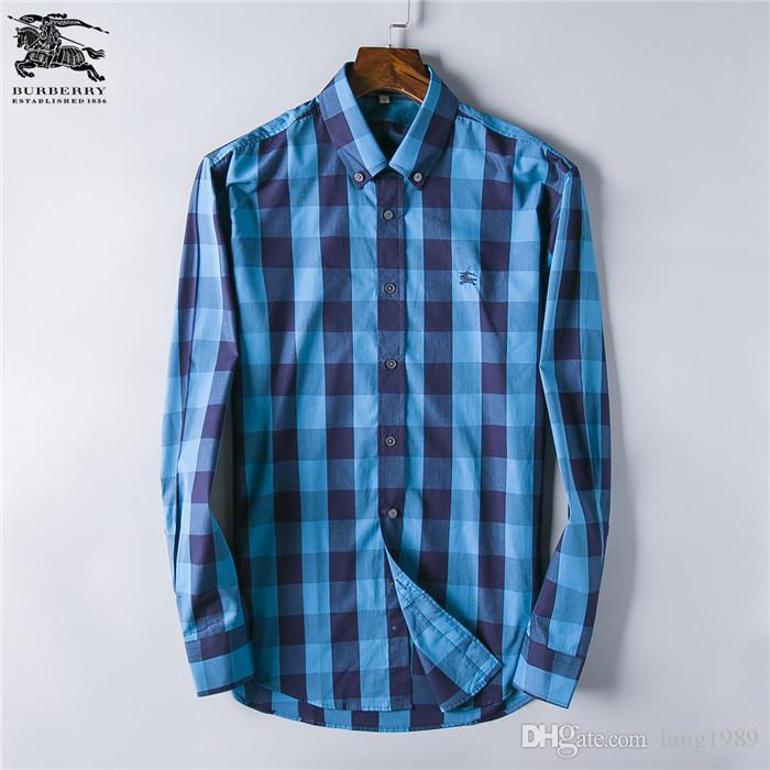 Acheter Plus Recent 2019 Mode Vague Des Hommes Plaid Shirt Imprimer