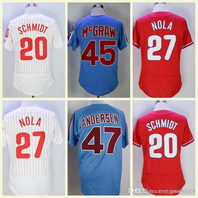 a514e2a597f 2019 Vintage Philadelphia Jersey 27 Aaron Nola 45 Tug McGraw 20 Mike  Schmidt 47 Larry Andersen Flexbase Retro Baseball Jerseys From  Top jerseys168