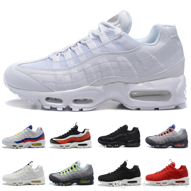 bcd865a233 Men 95 Triple White Sneakers Running Shoes Men Womens Triple Black ...
