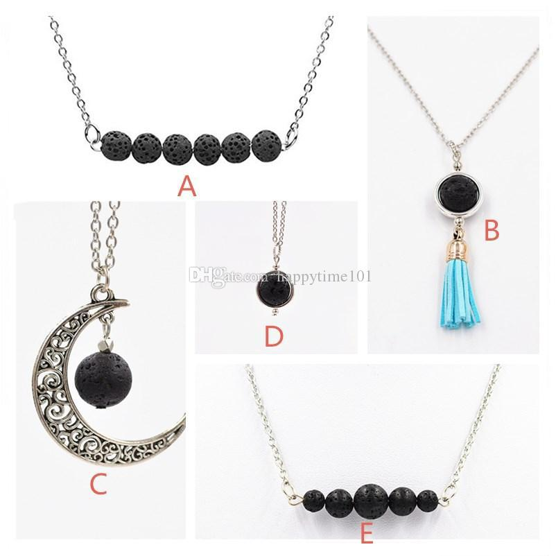 Collana di pietre di lava nera naturale di 5 stili Collana di diffusore di olio essenziale di aromaterapia di colore argento i monili delle donne