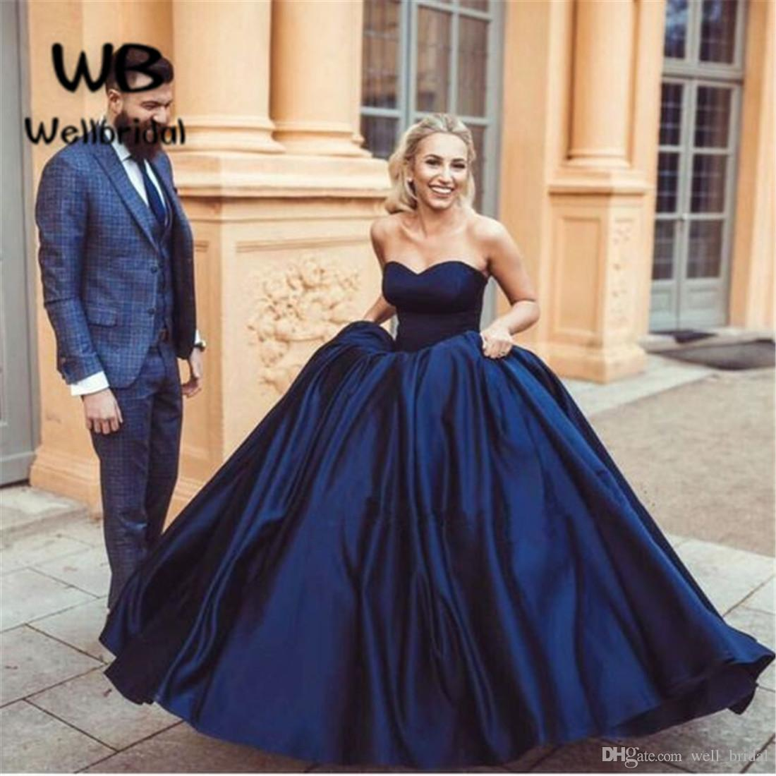 Elegant 2018 Ball Gown Prom Dress Long Sweetheart Satin Lace Up Back ...