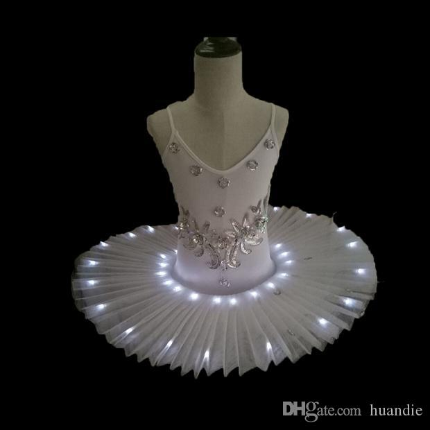 Girl's cheap 7 sizes white blue pink LED light ballet tutu skirt ballerinas for performance ET002