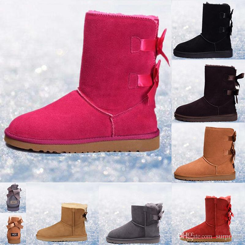 12e7c188ac0 New WGG winter boots Australia Classic snow Boots fashion WGG tall boots  real leather Bailey Bowknot women's Keep warm