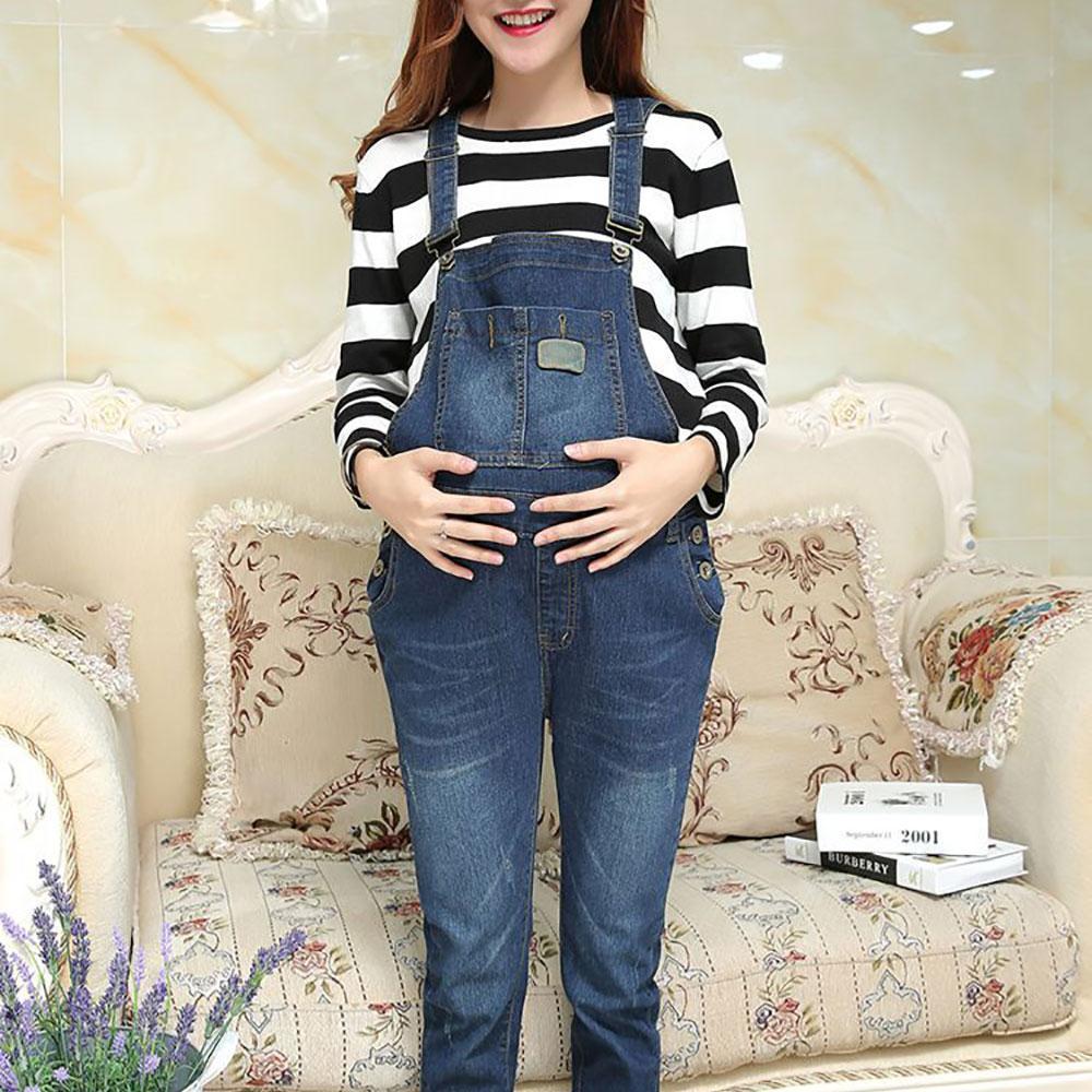 9e0d75683 Compre Ropa De Maternidad Suspender Pantalones Jeans Prop Belly Legging Ropa  De Embarazo Pantalones Ajustados Para Mujeres Embarazadas Ropa Overoles A  ...