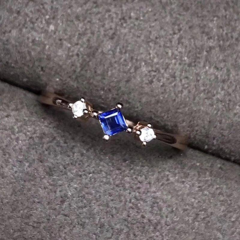 large choix de couleurs sélection spéciale de boutique de sortie Fidélité Naturel 3mm Sri Lanka Pierres de saphir Bagues S925 argent  sterling Bijoux exquis fins pour les femmes Pierre bleue naturelle
