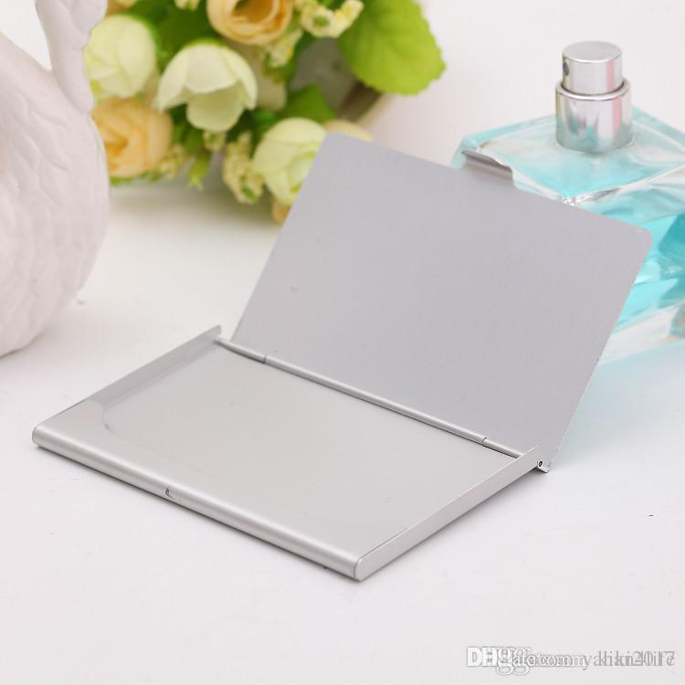 Business name credit id card case holder aluminum business card business name credit id card case holder aluminum business card holder card files aluminum silver color laser engraving can be customized bussiness card reheart Image collections