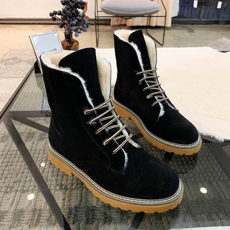 12c82f7e498 Snow Boots Shoes Plus Velvet Classic Warm Fur Plush Lace-Up High Top Lady  Shoes Zapatos de hombre Winter Footwears Retro Keep Warming Boots