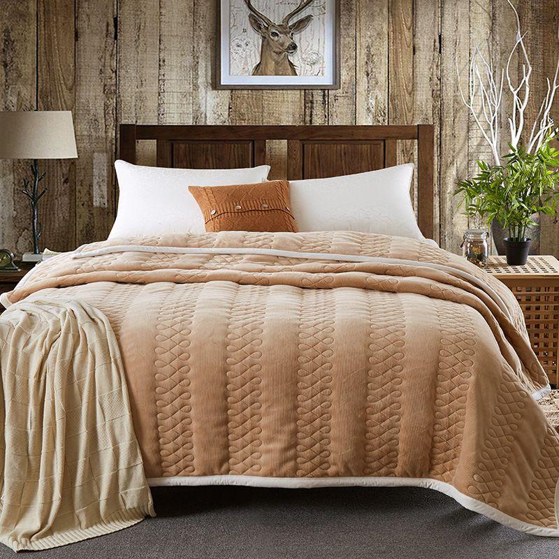 Großhandel Winter Stripe Decke Verdicken Warme Bettdecke 200 230cm
