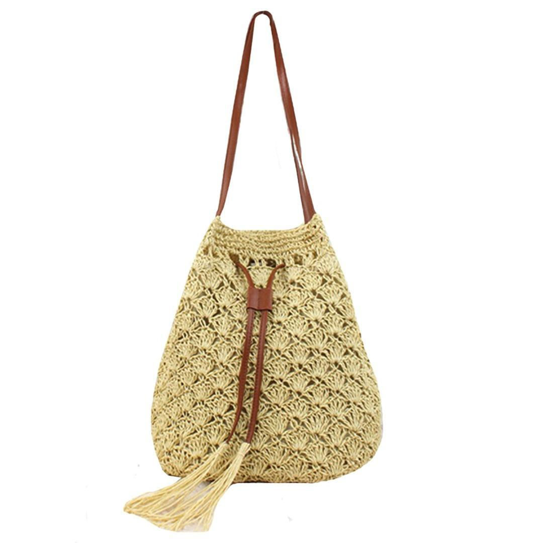 FGGS Ladies Modern Tassel Straw Knitted Ladies Handbag Handbag Shoulder Bag Perfect for Holiday on the Beach (Beige)