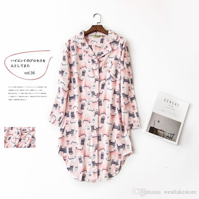 2e43952ac5 Autumn Stripe Nightdress Polka Dot Sexy Nightgowns Women Sleepshirts 100% Brushed  Cotton Fresh Simple Women Sleepwear Plus Size Online with  29.72 Piece on  ...