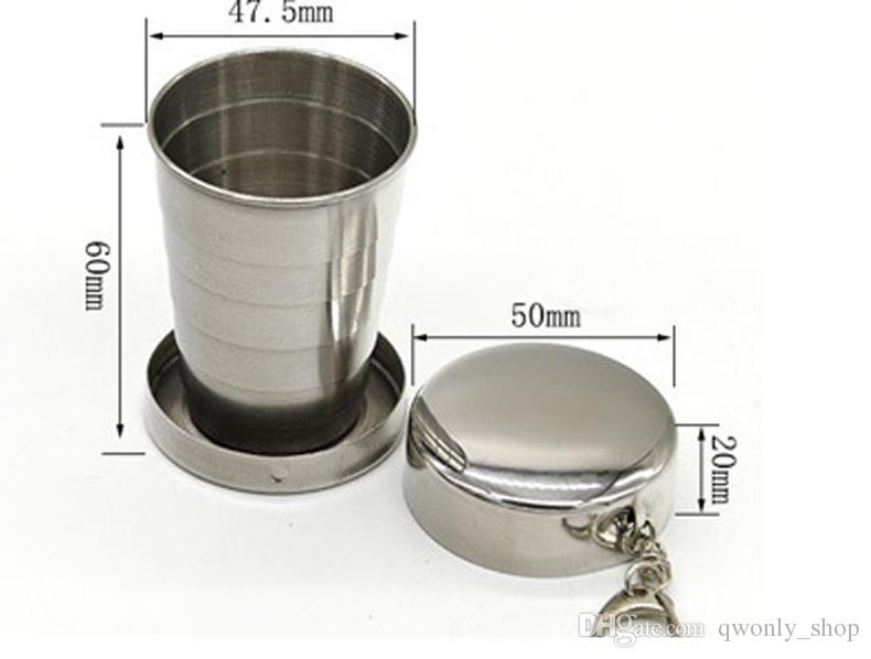 Stainless Steel Folding Mugs Portable Outdoor Travel Camping Foldable Collapsible Cup 75ml Water Beer Drinkware Supplies