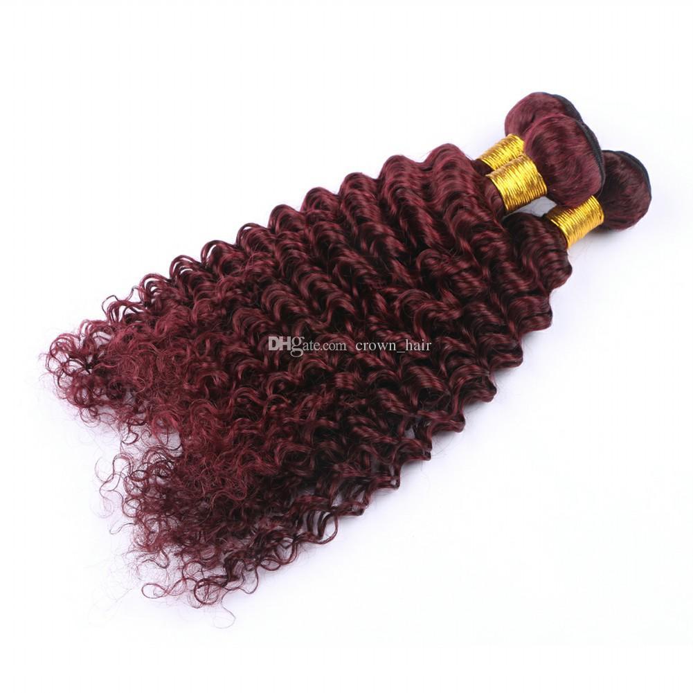Wine Red 99J Deep Wave Hair Weft Extension 10-30 Inch Burgundy Deep Wave Curly Brazilian Virgin Human Hair Weaves