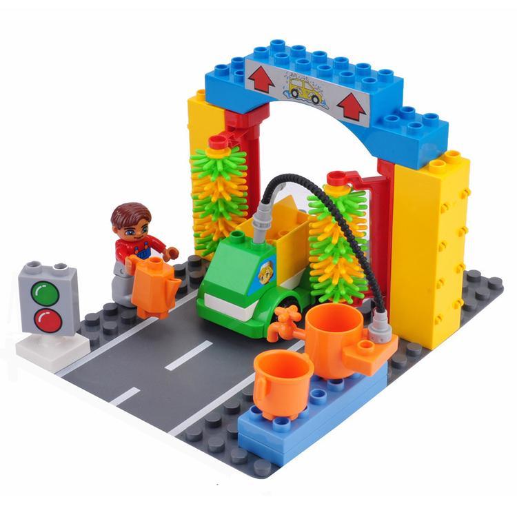 20 PÇS / SET Parque de Lavagem de Carro Menino Blocos de Construção Cidade Figuras Educação Brinquedo