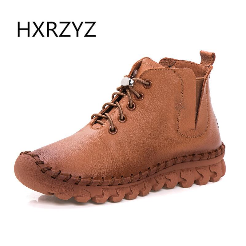 HXRZYZ spring and autumn new fashion Handmade genuine leather Lace boots women shoes womens winter boots women Ankle boots