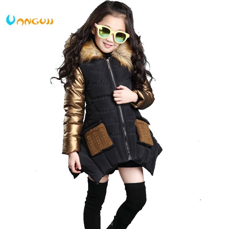 e6f93cd5ed8ba Satın Al 4 13 Yaş Kızlar Kış Ceket Çocuk Aşağı Ceket Kapüşonlu Kürk Yaka  Dikiş Çocuk Giyim Kalın Sıcak Parkas Moda, $29.29 | DHgate.Com'da