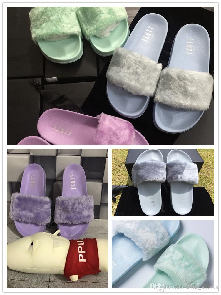 f3d6dff1e0802 2018 Hot Sale Leadcat Fenty Rihanna Shoes Women Slippers Indoor Sandals  Girls Fashion Scuffs Pink White Grey Fur Slides Size 35 40 Ankle Boots  Slippers From ...
