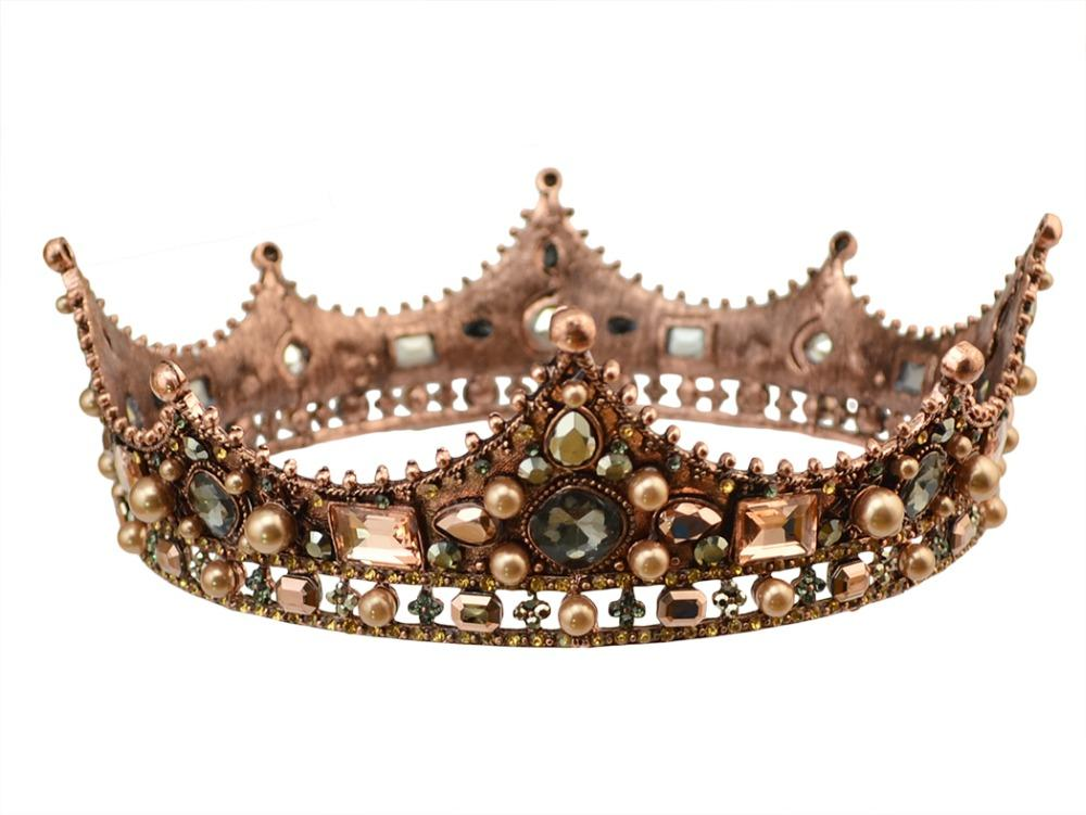 2019 Baroque Vintage Pearl Crystal Queen King Crown And Tiaras Rhinestone  Circle Big Princess Bridal Wedding Hair Accessories Jewelry From Whatless 9283f2e289fa