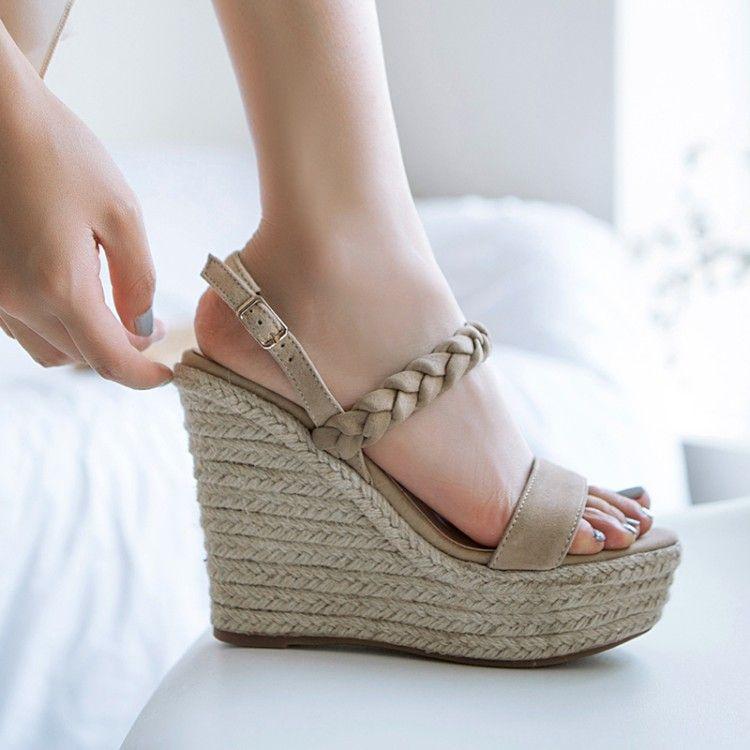 9e0b0716dc1 Women Ankle Strap Wedge Heel Platform Pumps Metal Buckles Sandals ...