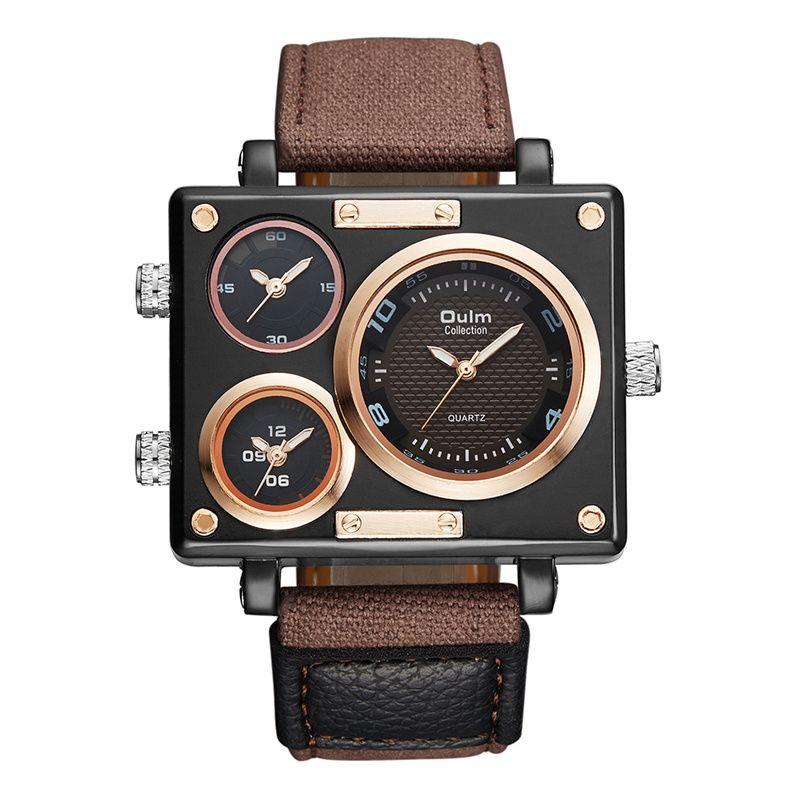 15f7d5a330f8 Compre OULM Marca Original Único Diseño Cuadrado Hombres Oulm Reloj Marca De  Lujo Hombre Ancho Amplia Marca Casual Correa De Cuero Reloj De Cuarzo  Relojes ...
