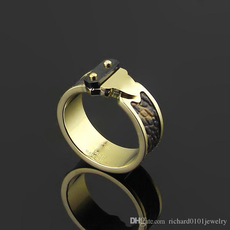 Top Quality arrows Leather Band Rings Stainless Steel Silver rose gold four-leaf flowers rings for women fashion Jewelry brand named