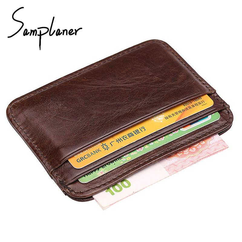 4f6658f4eb4a First Layer Cow Leather Mini Men Card Holders Male Thin Credit ID ...