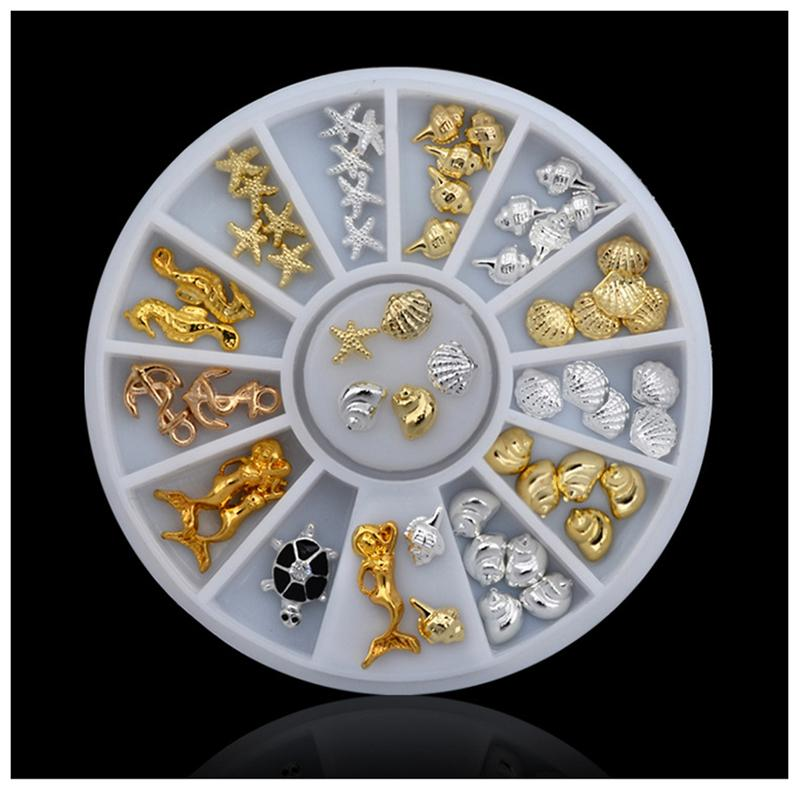 76pcs/set Cute Ocean Sea Life Gold Silver 3d Metal Alloy Nail Art Decorations Studs Wheel DIY Nail Rhinestone Jewelry Tools