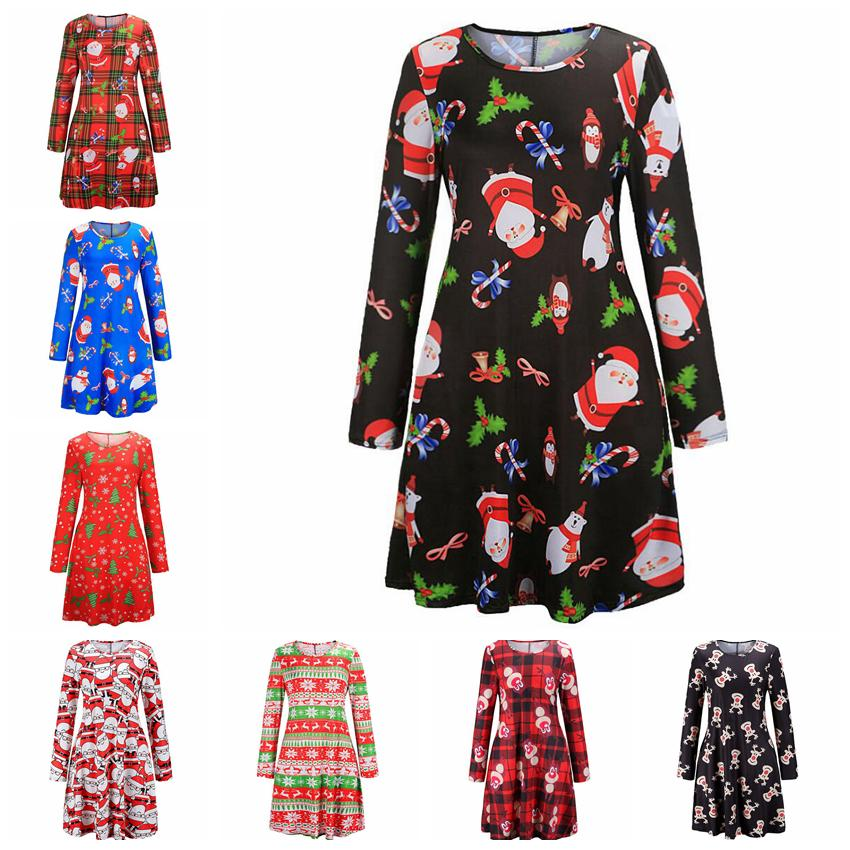 8styles christmas snowman tree santas T-shirt dress long sleeve printed women lady X'mas cartoon dress Casual Blouse Loose Tops FFA725 12pcs