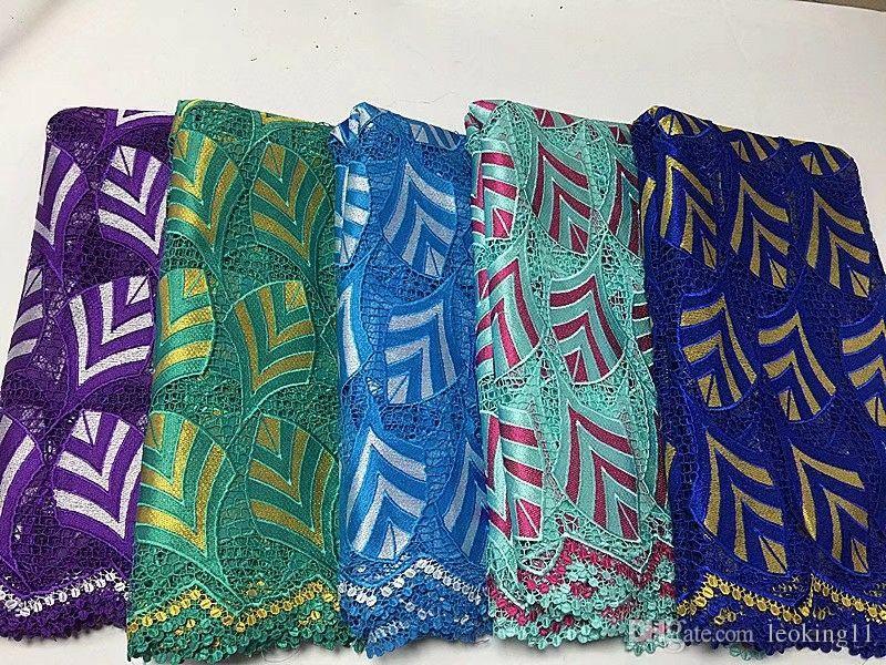 5 yardas / pc Venta caliente azul real y amarillo africano soluble en agua bordado cordón francés cordón de tela con diamantes de imitación para la ropa BW150-15