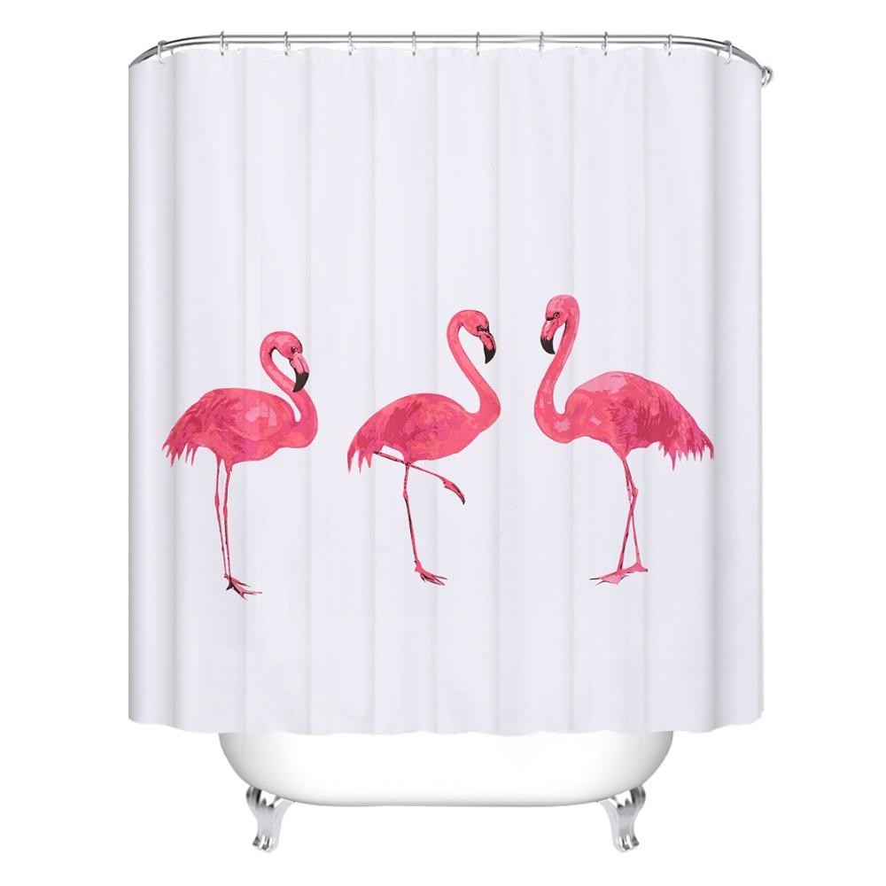 2019 New Creative European Style Pink Flamingo Shower Curtains Waterproof Bath Curtain Polyester Bathroom 72X78 Inch From Sophine11