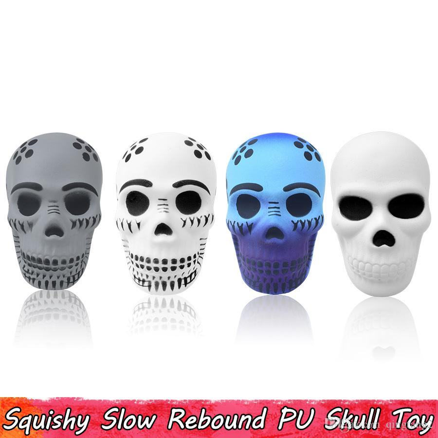 Punk Skull Squishy Toy Slow Rising Squishies Squeeze Toys for Kid Stress Relief Gifts for Teens Adults Soft PU Home Decoration 4 Style