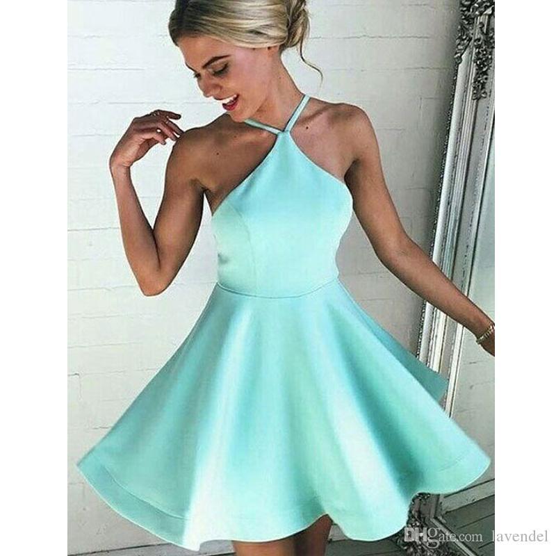 abba69a38b5b2 Satın Al 2018 Nane Yeşil Mezuniyet Elbiseleri Seksi Basit Spagetti Sapanlar  Üstü Diz Kısa Gelinlik Modelleri Vestidos De Fiesta, $93.97 | DHgate.Com'da