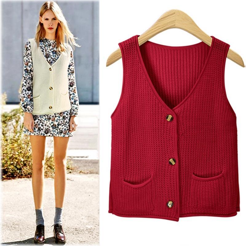 buy online 68f6b fc65e Maglione bordeaux Vest Cardigan Donna con scollo a V Bottoni Tasche  lavorato a maglia Tricot Beige Nero Grigio Verde C79904
