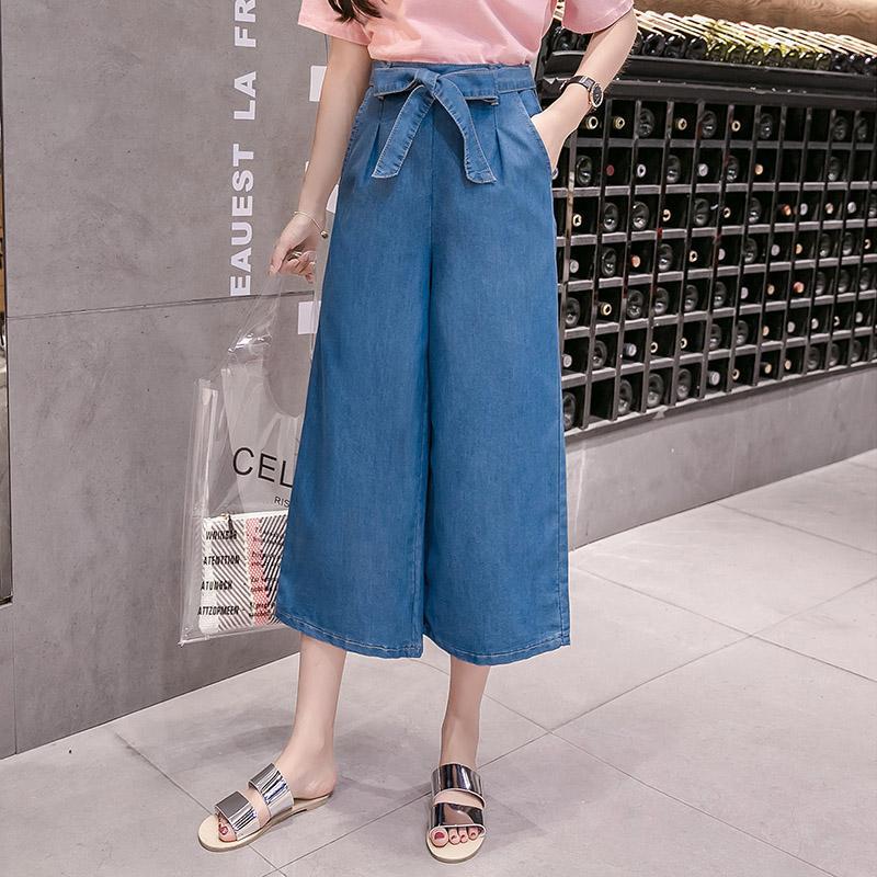 5417a5a5853 2019 Jeans Womens Loose Fashion Bow Wide Leg Jeans Women S 5XL Plus Size  Feminino Pockets Slim Denim Capri Dropshipping From Caicloth