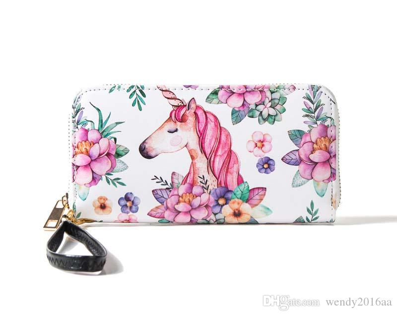 Women RFID Fashion Korea Cartoon Printing Long Zipper Wallets PU Brief Waterproof Clutch Bags