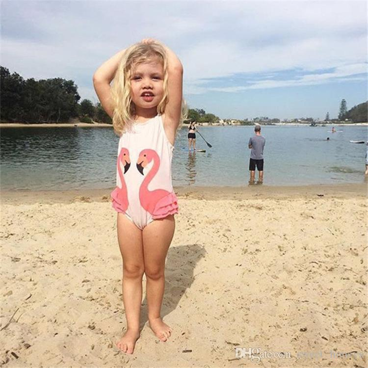 Hot Baby Girls Swimsuit Kids Cartoon Swimwear Swimming Cap Parrot Swan Flamingo Girl Bathing Suits Children Two-piece Swim Wear