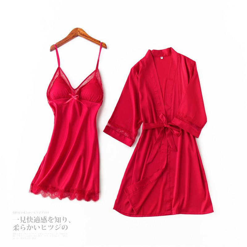 e6e16e9aec34 2019 Silk Ice Women Lace Robe   Gown Sets Satin Bathrobes Sexy Sleepwear  Robe Dress Hot Erotic Two Piece Set Nightwear Home Clothes From Meicloth