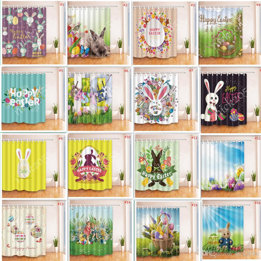 Easter 3D Printed Shower Curtain Hooks Polyester Waterproof Mildew