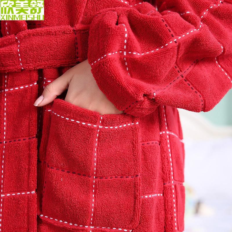 Cotton bathrobe men women sleepwear nightgown for girls blanket towel thickening long soft bathrobe autumn winter
