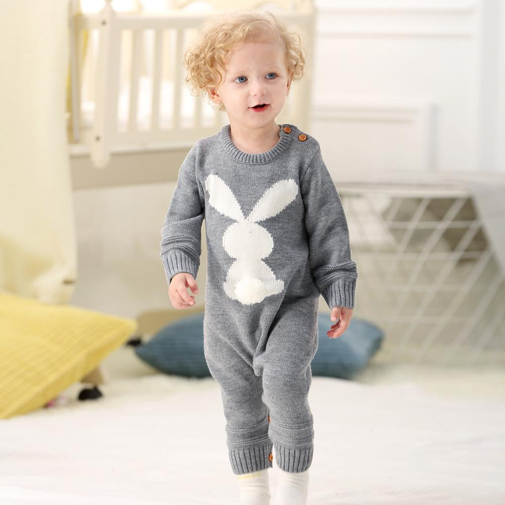 929ac80e9 2019 Baby Girl Bodysuits Winter Warm Newborn Boys One Piece Jumpsuits Cute Rabbit  Knit Long Sleeve Body Suits With Legs Sunsuit 0 24M Y18102008 From Gou08,  ...