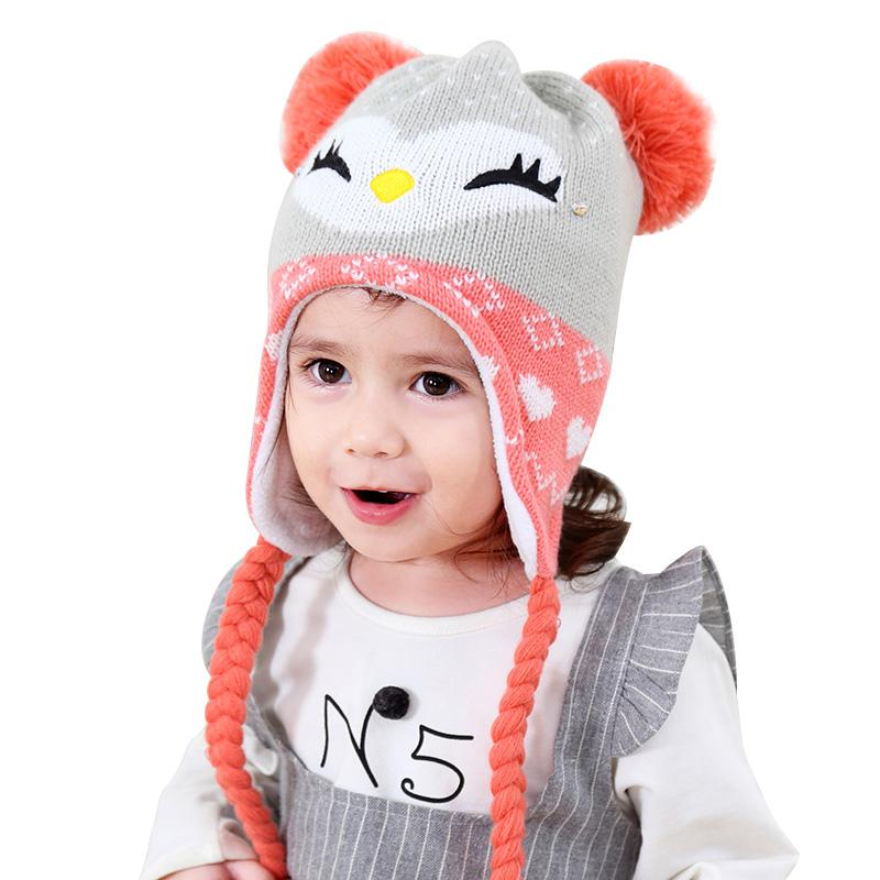 2019 Cartoon Cat Baby Hat For Girls Winter Warm Velvet Beanie Ear
