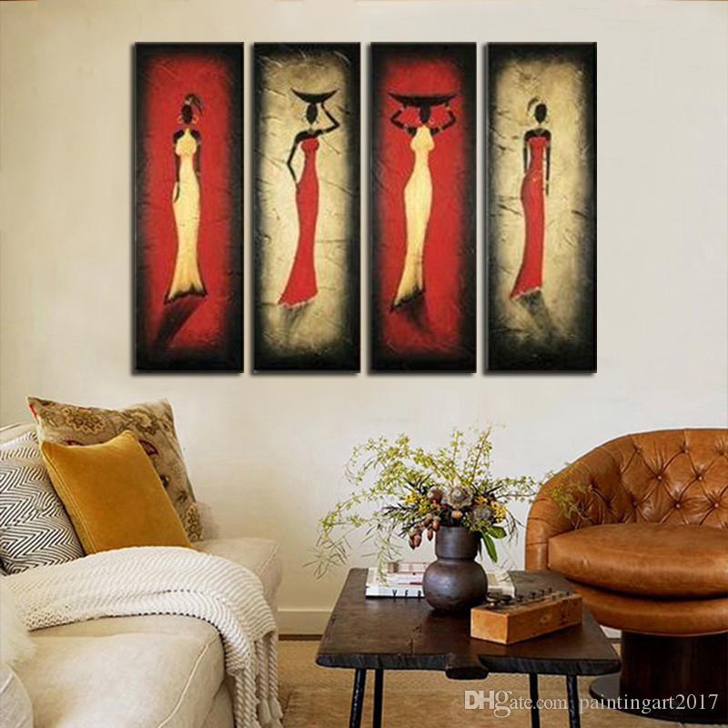 El boyalı şekil yağlıboya tuval üzerine soyut afrika kadın resim sergisi ev dekorasyon duvar sanat 4panel resimleri set